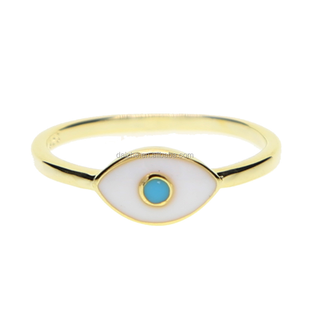 FASHION gold color with enamel eye shape women tiny stack rings adjust size women finger ring