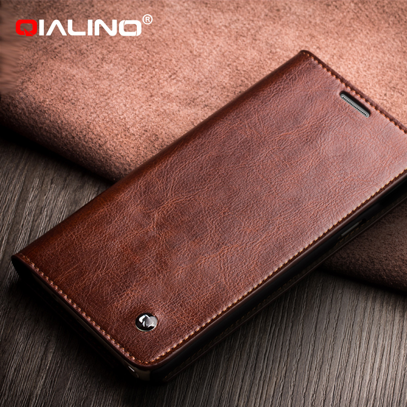 QIALINO Hand-Made Cow Leather For Samsung Galaxy Prime Core Leather Flip Cases Note 5