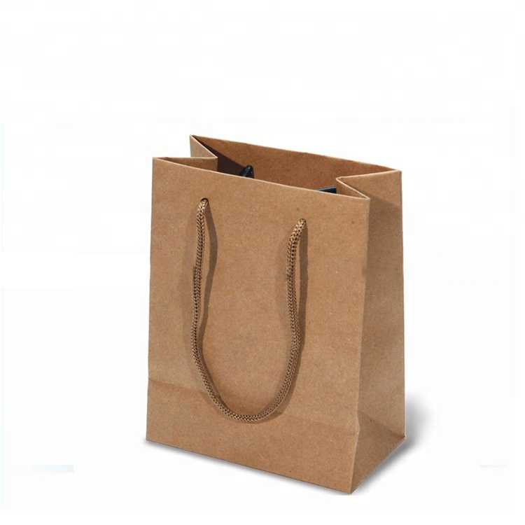 Promocional biodegradável reciclar brown craft paperbag Sacos de papel kraft marrom com alças