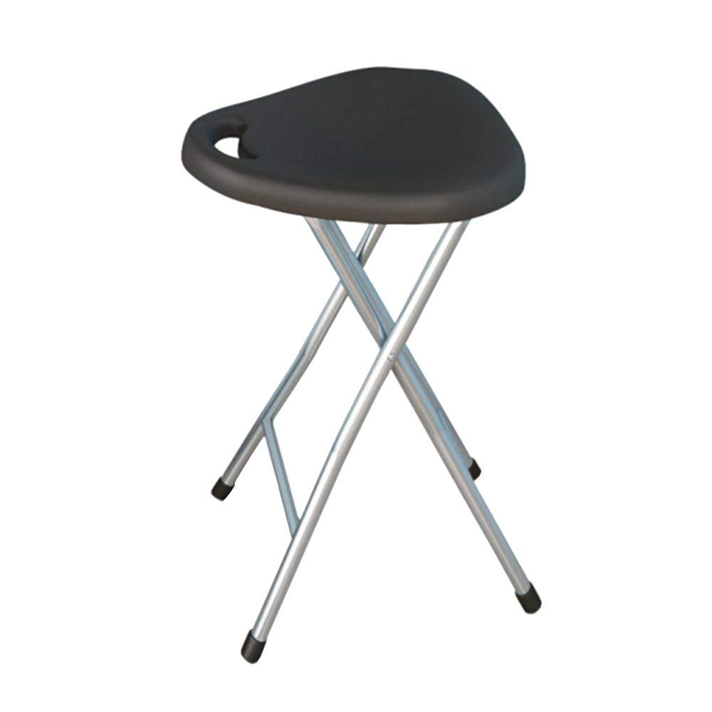 Folding stool chair/plastic office computer stool/home leisure portable stool/fishing stool/black/red/white/253047cm (Color : Black)