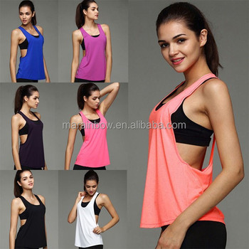 af66755ebaa16 Sexy Womens Open Sides Tank Top Loose Fit Blank Gym Tank Top Deep Cut  Fitness Stringer
