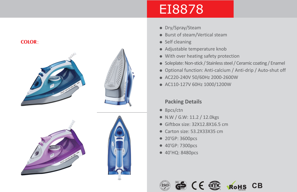 Wholesale steam iron with Self-cleaning auto-off functional,professional drip-proof electric steam iron