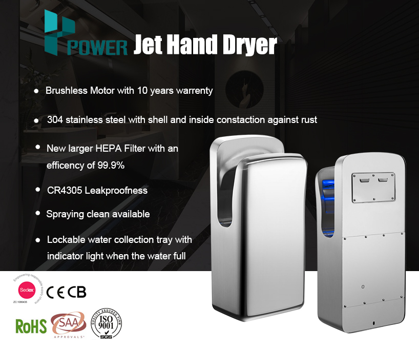Hotel 304 stainless steel towel dry cheap price automatic air jet hand dryer