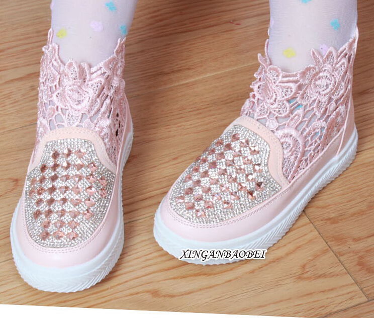 Brand New DIY Children High Shoes Sparkling Lace Pierced Rhinestone Girls Casual Shoes Spring Summer Fashion