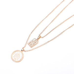 Maya Boho Ethnic Square Jesus Pendant Necklace Gold Plated Double Layer Round Specie Coin Pendant Necklace
