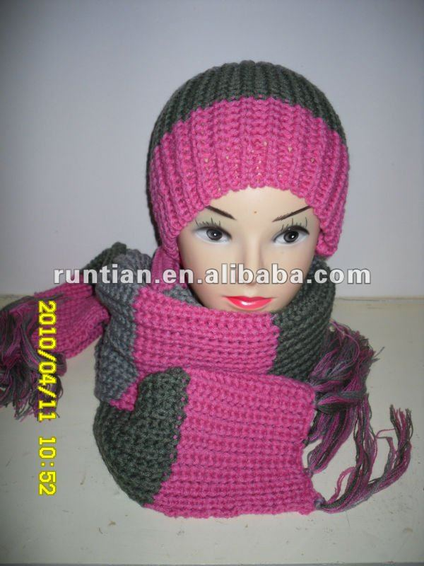 100%Soft Acrylic Knitting Winter hat and Scarf set