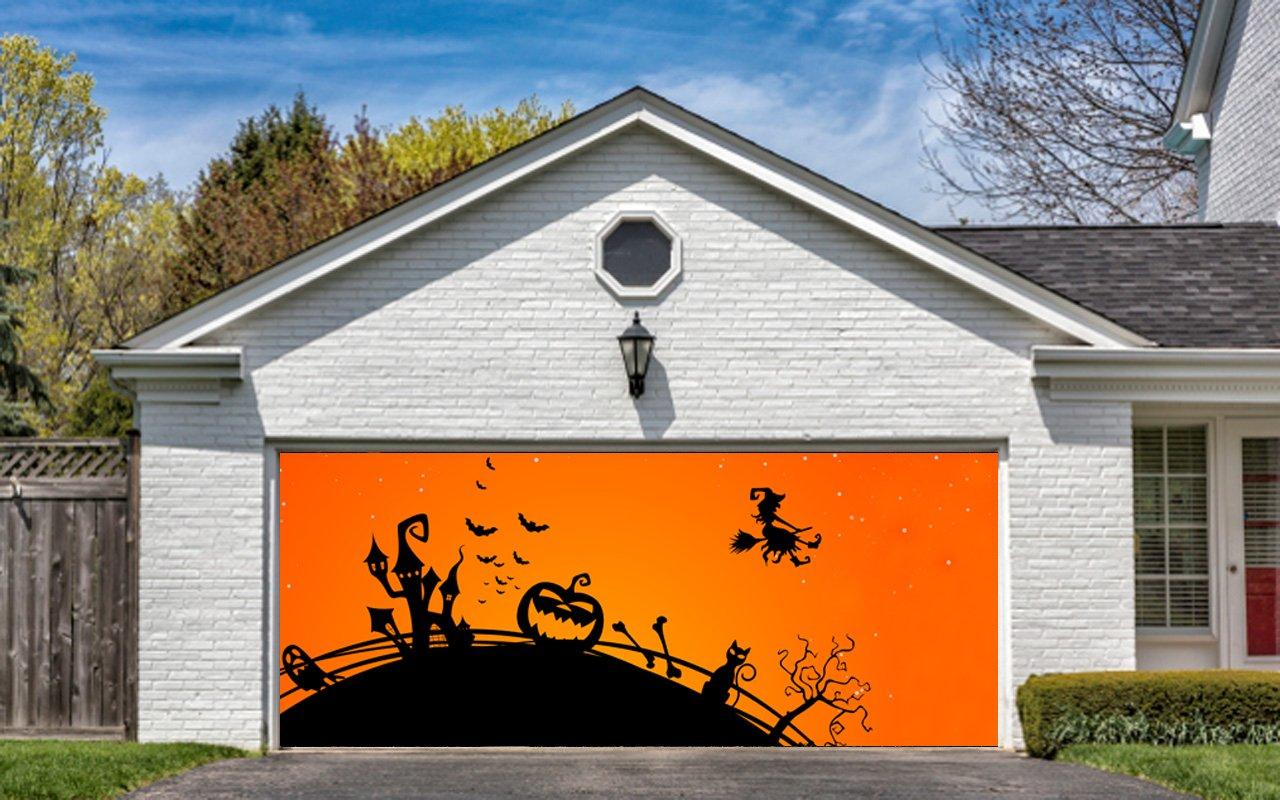 Buy Halloween Garage Door Cover Decor Pumpkin Night Bat