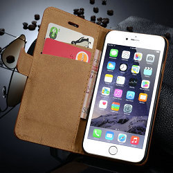 Special mobile phone stand leather flip wallet case for iphone 6 plus lather case
