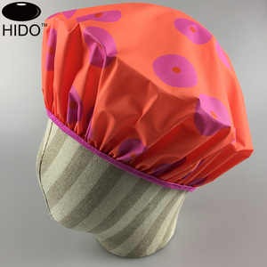 Customized printed single layer disposable PEVA plastic shower cap