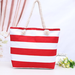 High quality promotional Fashion Design waterproof Wholesale custom printed cotton canvas tote stripe beach bag