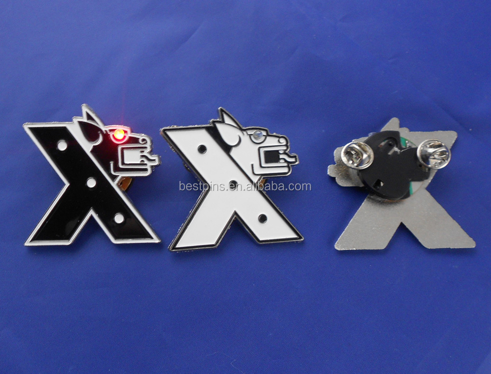 light led flashing lapel pins, Xmas shiny badges kids clothes accessory