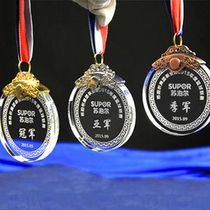 Multifunctional round medal crystal award for wholesales