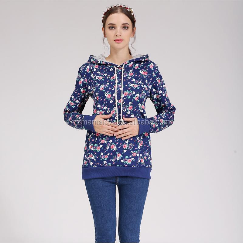 Wholesale Plus Size Emotion Moms Floral Maternity Nursing Breastfeeding Hoodie Sweatshirt Knitted Clothes фото