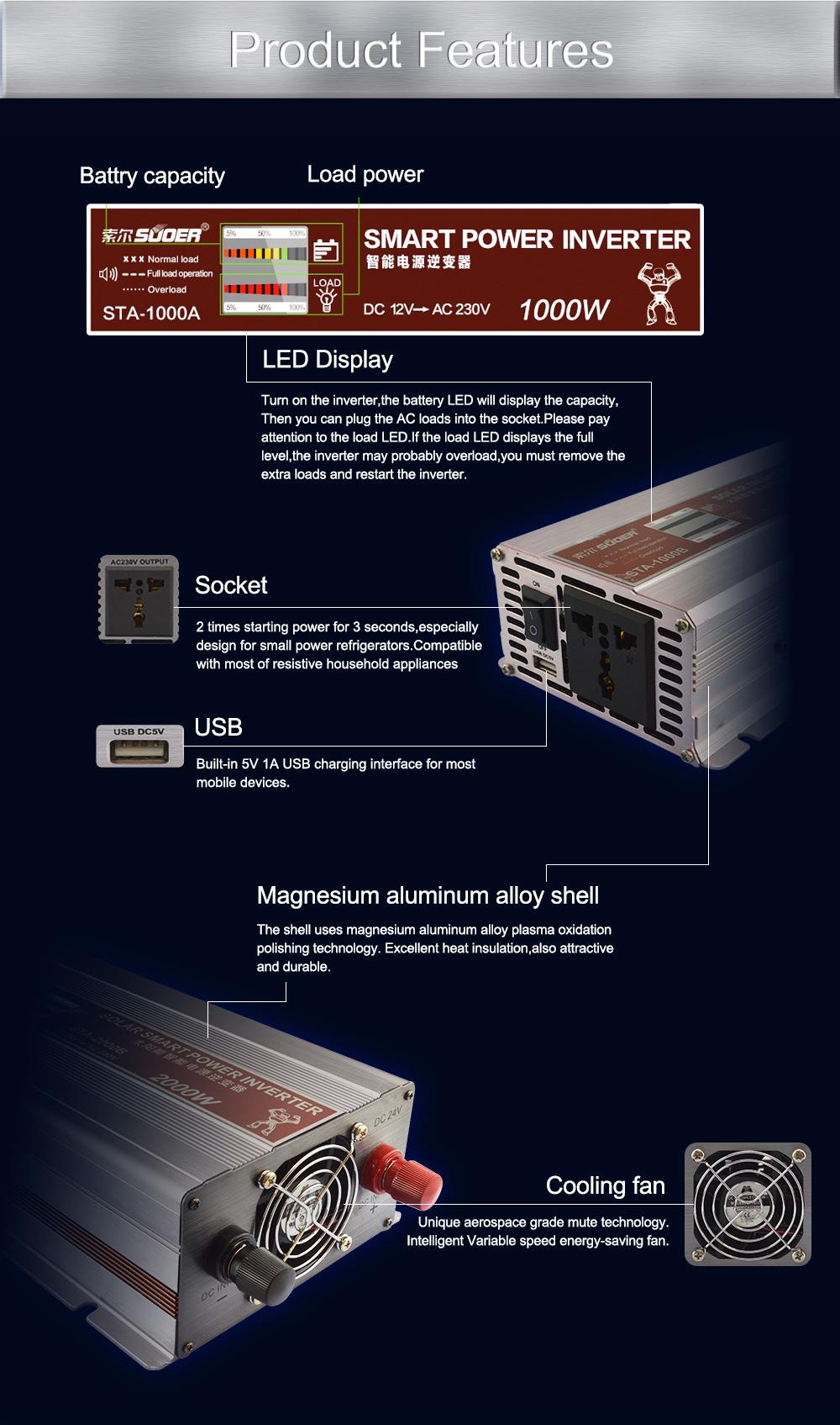 Suoer DC12V AC 230V 500w Off Grid Modified Sine Waveform Solar Power Inverter With LED Display