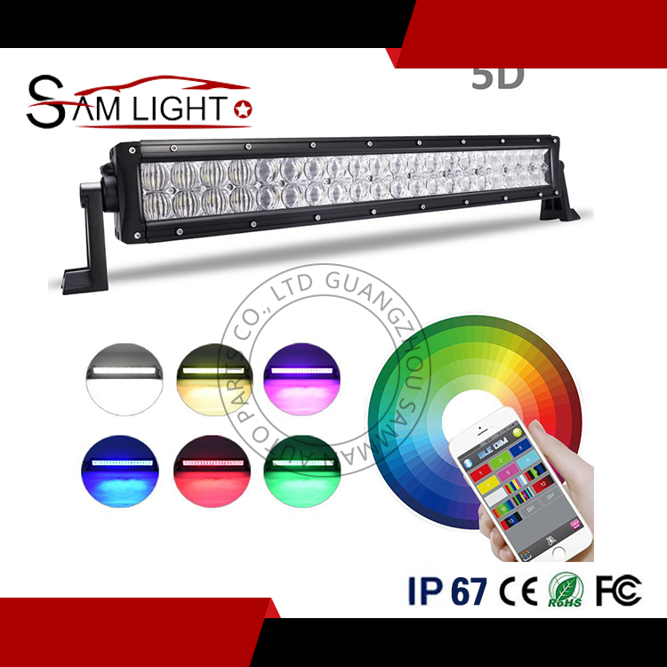 180 W IP68 5D color cambiante luz LED azul/ámbar/Blanco/rojo led luces estroboscópicas bar para jeep con música modelo