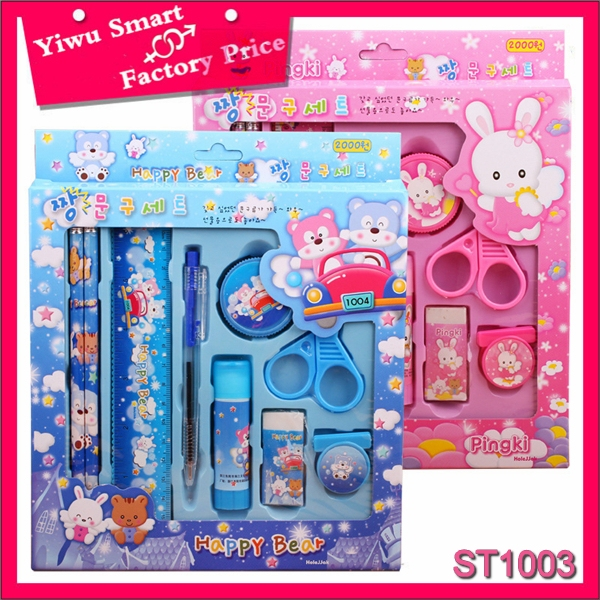 korean school supplies for kids custom design 9pcs glue stick happy bear stationery gift set