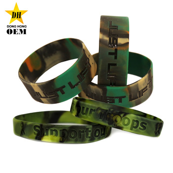 Outdoor Army Military Custom Logo Rubber Camouflage Silicone Wristband