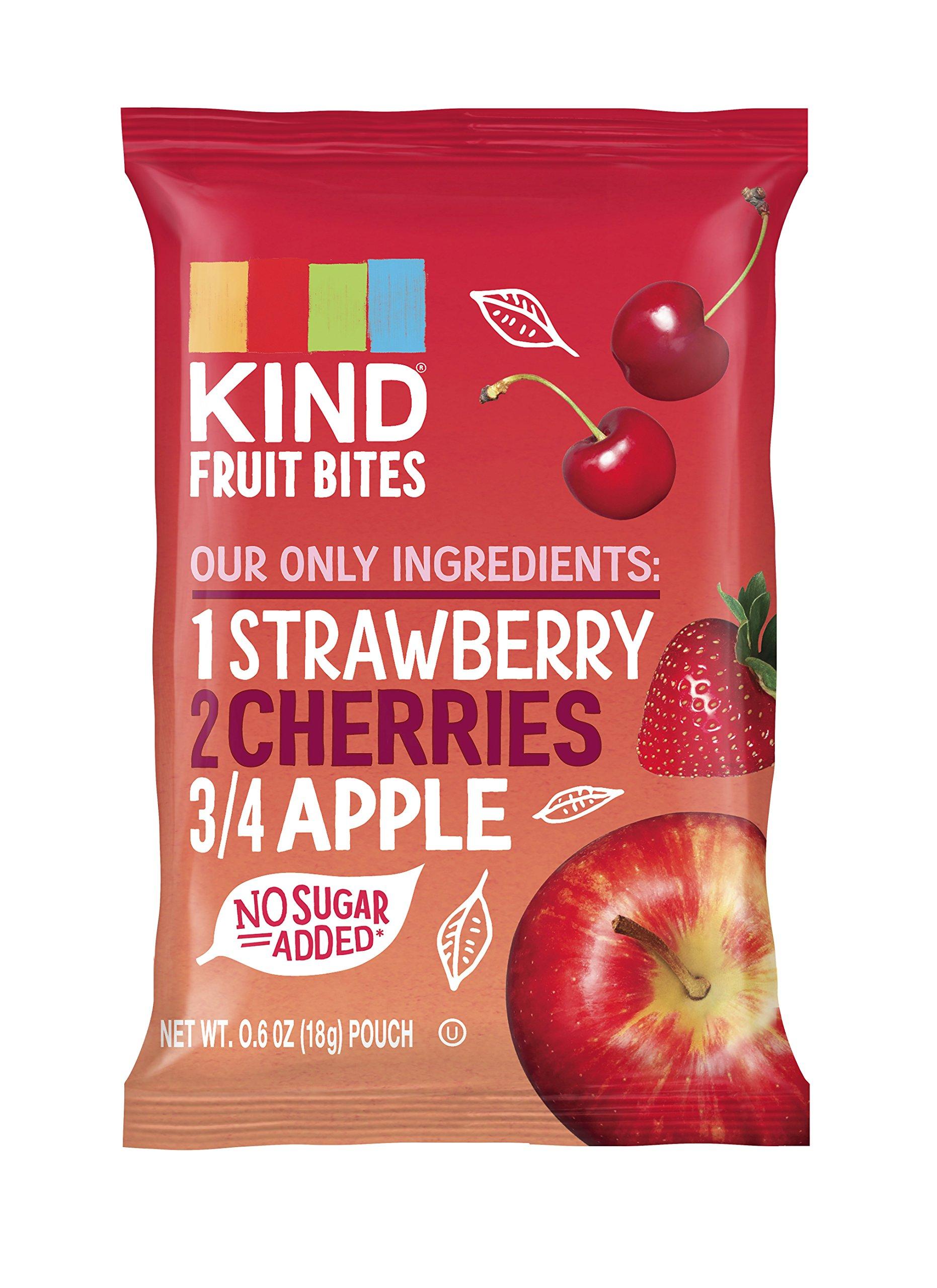 KIND Fruit Bites Fruit Snacks, Strawberry Cherry Apple, No Sugar Added, Non GMO, Gluten Free, .6oz Sample