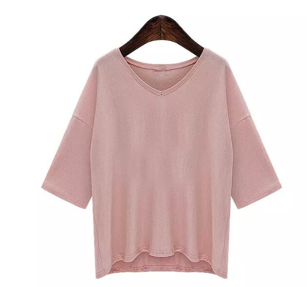 Women summer fashion loose t shirt V neck