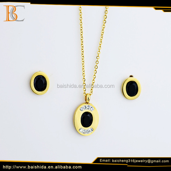 honorable oval shaped gold plated stainless steel jewelry set for women