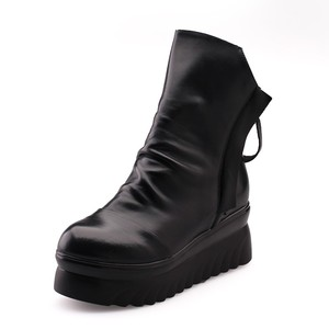 2017 Women Winter Shoes Double Zip Platform Genuine Leather Black Ankle Boots
