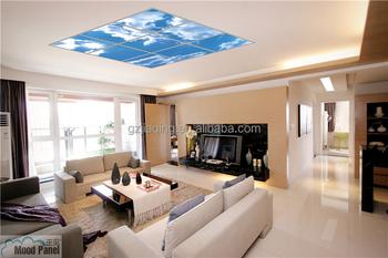 Moderne woonkamer virtuele dakraam blauwe hemel en bloesem