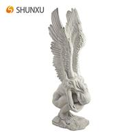 Inspirational Angel Outdoor Indoor Statue Female Buried Head Angel with Arms Around Her Knees Home Garden Decor
