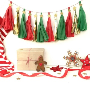 UMISS Paper Tassel Garland Red, Green & Gold/Silver Glitter Star, Christmas Party Hanging Decoration