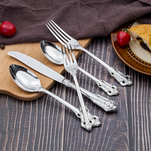 Luxury Silver Hammered Flatware Sets,Vintage Cutlery with Knife Fork Spoon