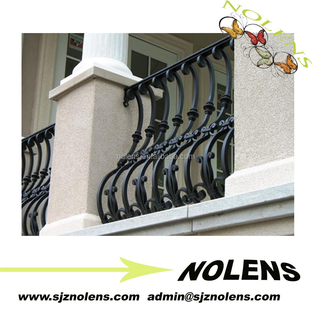 Customized wrought iron morden balcony railing /iron grill design for veranda