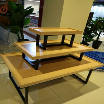 Customized Color And Size Fr Mdf Iron Material Retail 3 Tier Display Table