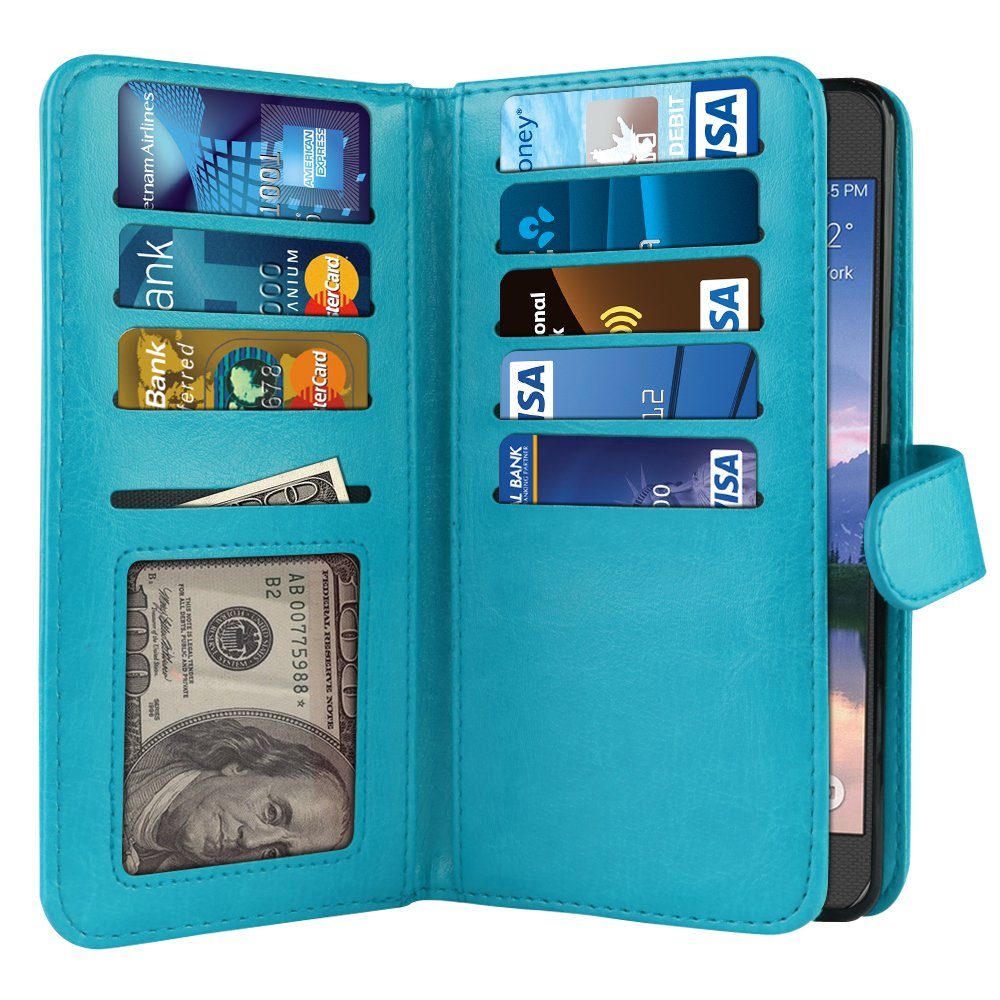NextKin Case For Samsung Galaxy S6 Active G890, Premium PU Leather Dual Wallet Folio TPU Cover, 2 Large inner Pockets Double flap Privacy, 9 Card Slots Holder Snap Button & Wrist Strap - New Teal