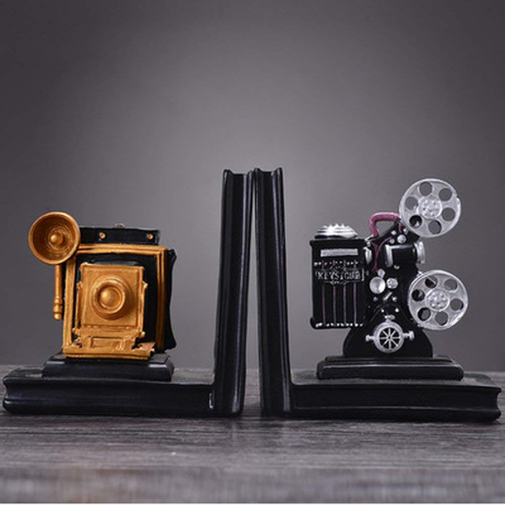 BWLZSP 1 PAIR Resin old-fashioned camera projector books by books bookends ornaments retro bar club furnishings(Without book) AP5171525