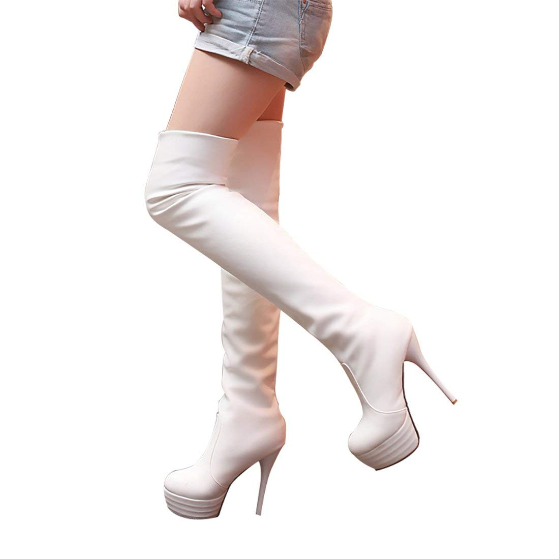 9227f83be Get Quotations · Mostrin Womens Over Knee Thigh High Heel Stretch Boots  Pointed Toe Faux Leather Pull On Sexy