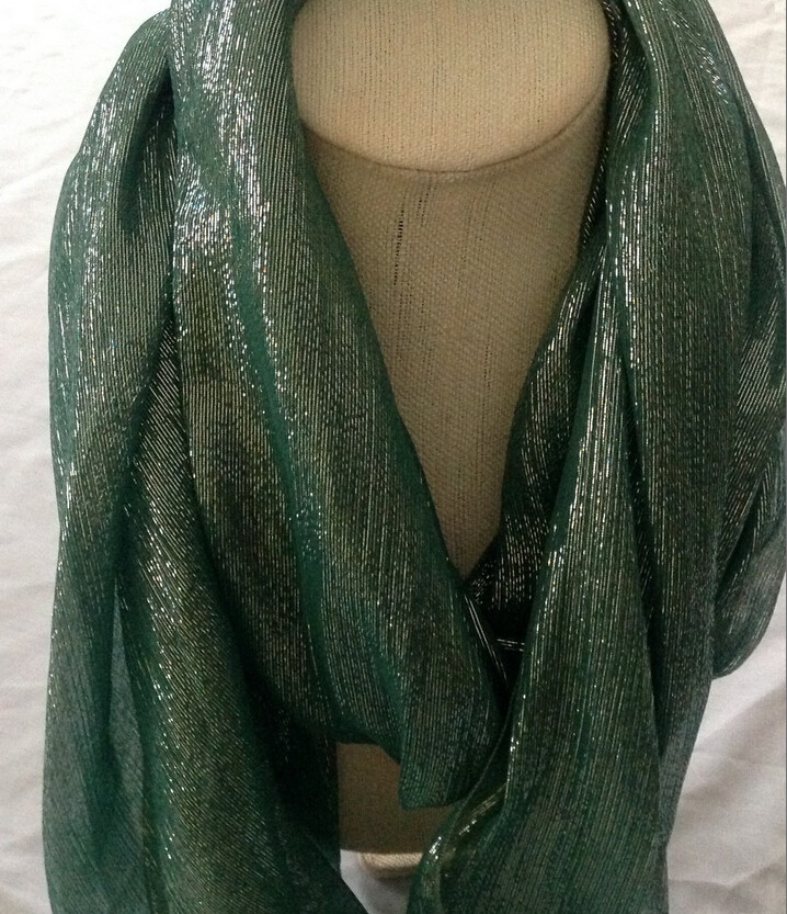Colorful Turquoise Jade green iridescent Silk Chiffon fabric extra long scarf