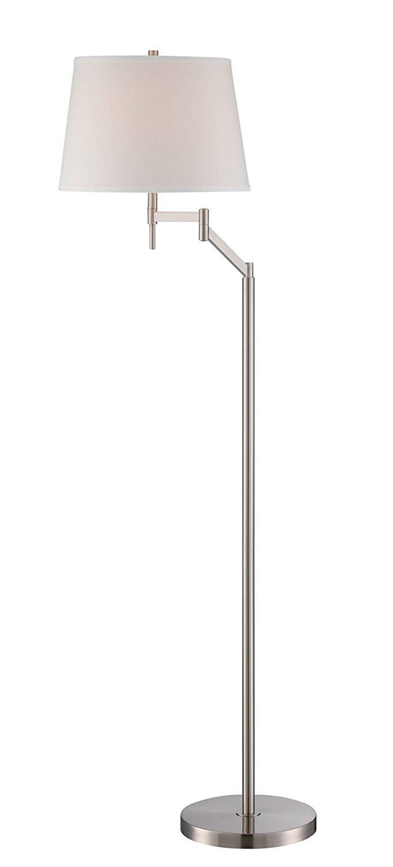 "Lite Source Ls-82138 Eveleen Swing Arm Floor Lamp, 22.5"" x 11"" x 52"", Polished Steel/Off-White"