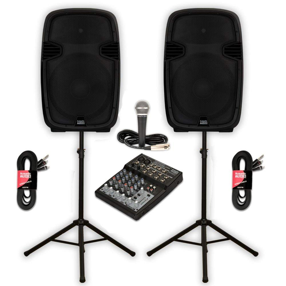"Acoustic Audio AA152UB Powered 15"" Bluetooth Speaker Pair 1800 Watts MP3 with Mixer Mic and Stands"