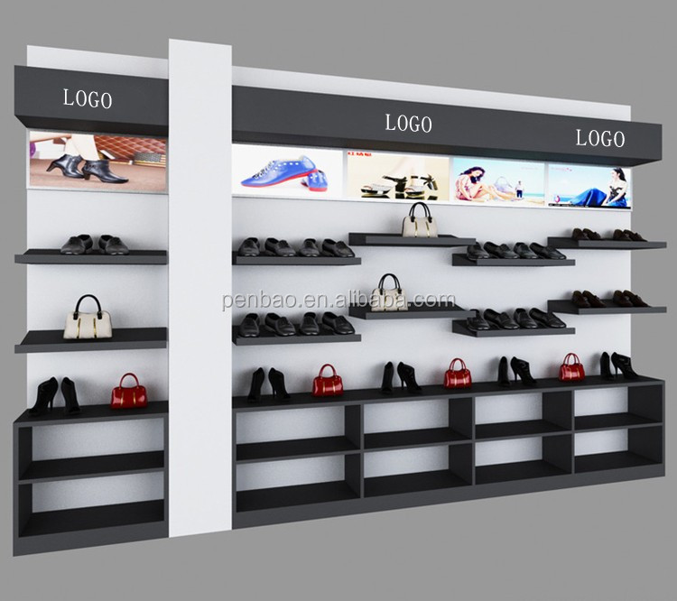Custom Wall Mount Ping Metal Wood Shoes Shelf Commercial Shoe Rack For Display