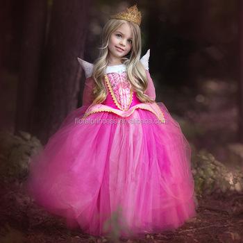 e356618f9b9872 2017 Roze en blauw kleur Aurora prinses jurk 2017 nieuwe hot koop  Doornroosje Aurora Kostuum Prinses