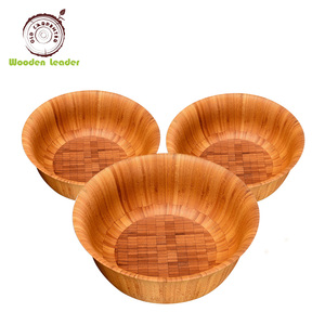 Custom rounded Vietnamese lacquered wooden condiment bowls for home and kitchen