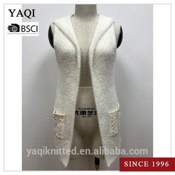 Womens Sleeveless Knit Hooded Cardigan Pattern Knitted Sweater Vest
