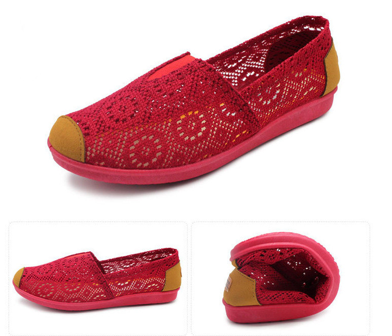 2015 Ladies Flat Lace Shoes Summer Style Round Toe Flats Women Cutouts Solid Shoes Women Moccasins Crochet Slip On Flats Women