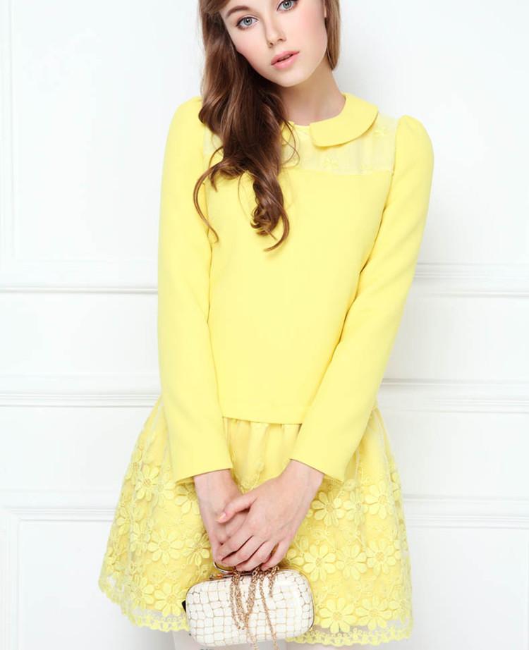 korea mode peter pan kragen elegante h bsche damen langarm gelben kurze designs kleider. Black Bedroom Furniture Sets. Home Design Ideas