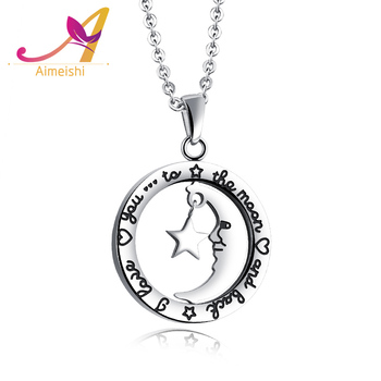 New arrival ss jewelry romantic women lead free anti allergy round new arrival ss jewelry romantic women lead free anti allergy round moon star pendant necklace aloadofball Image collections