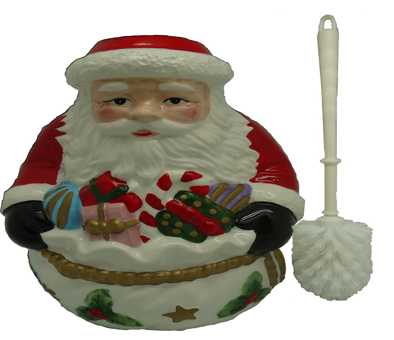 Ceramic Toilet Brush & Holder with Santa Design