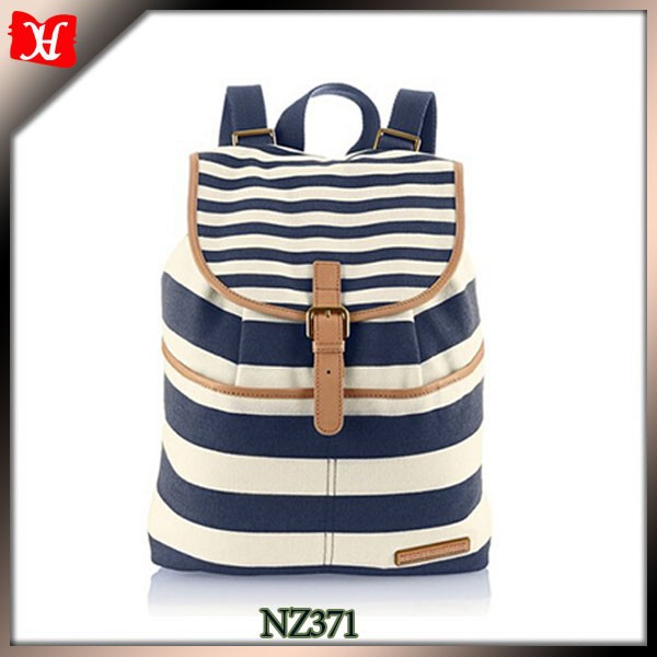 stripe canvas Blue bakcpack with leather Leisure lady rucksack with two shoulder Rucksack handtaschen for boy