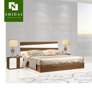 Modern Walnut and White Finished Bedroom Set Contemporary(QUEEN) B-818