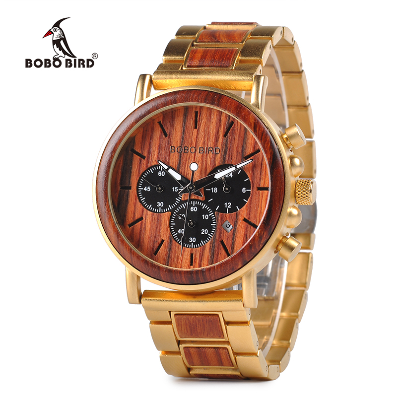 Chinese Supplier Factory Price Luxury Gold Chronograph Auto Date Watches Wood Timepieces фото