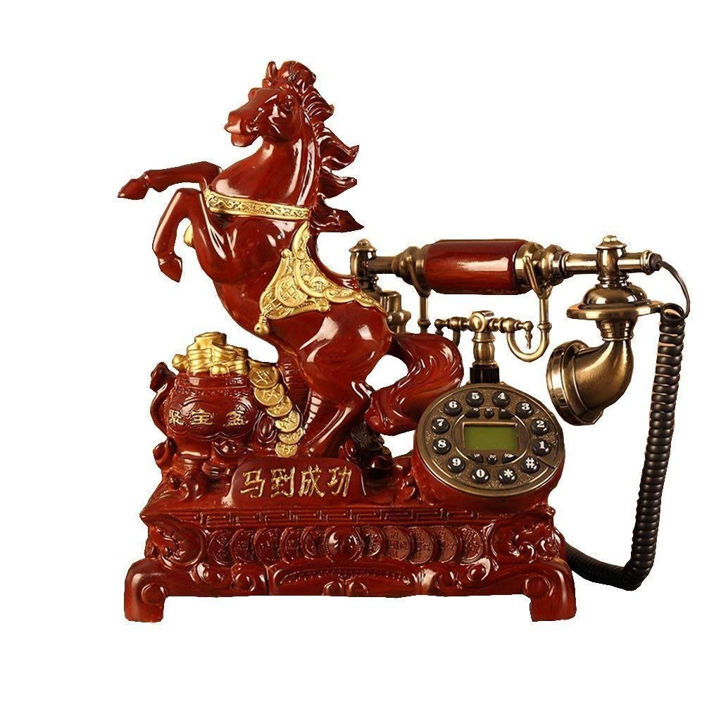 FACAIG Telephone antique rural pushbutton screen, wood imitating horse of fixed line resin high-end villa budget creative retro Home Welcome fixed (Color (a)