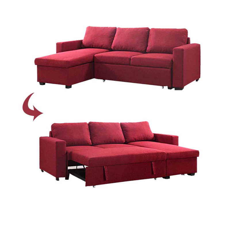 Couch Living Room Sofa Bed With Adustable Mechanism hinge, L Shape Sofa Bed, Corner Sofa Bed with Storage